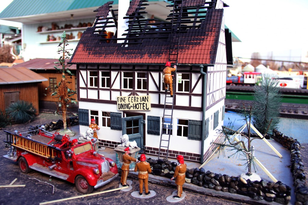 Not all is pleasant in this town - this fine German establishment has been in a terrible accident. Or was it arson?