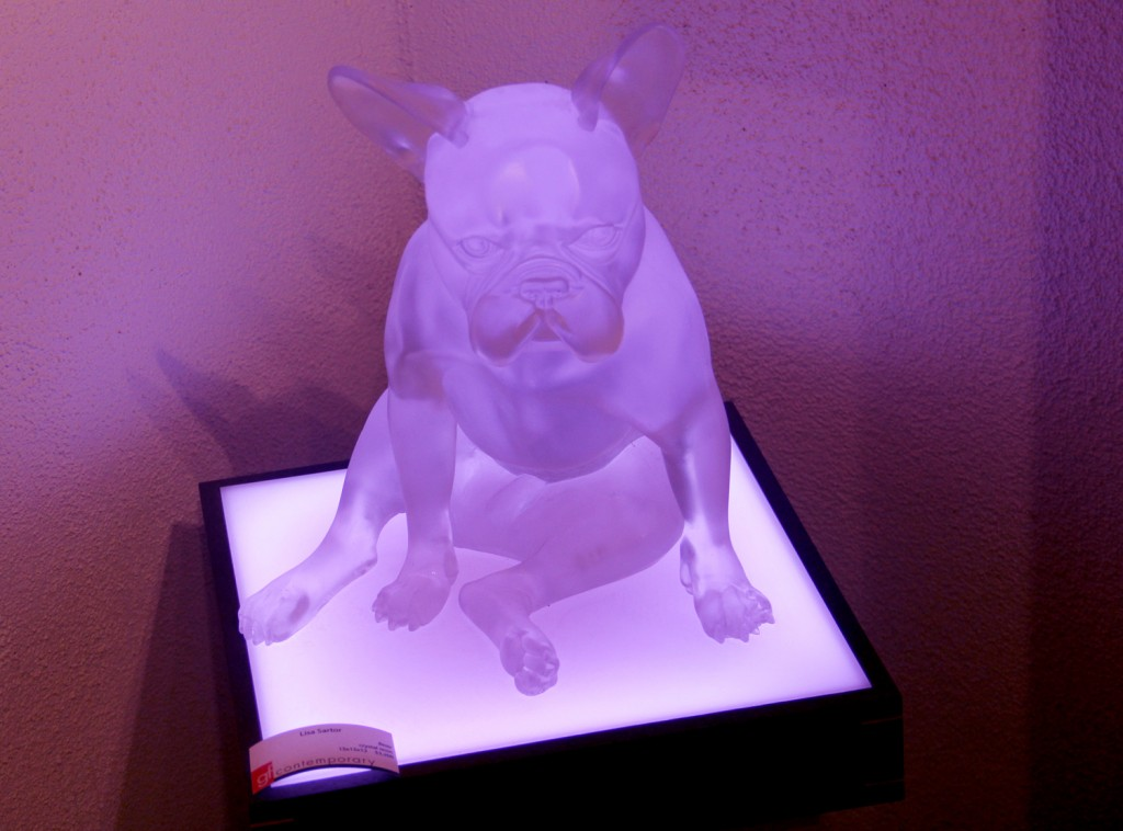 Cute little french bulldog sculpture, with changing mood light inside