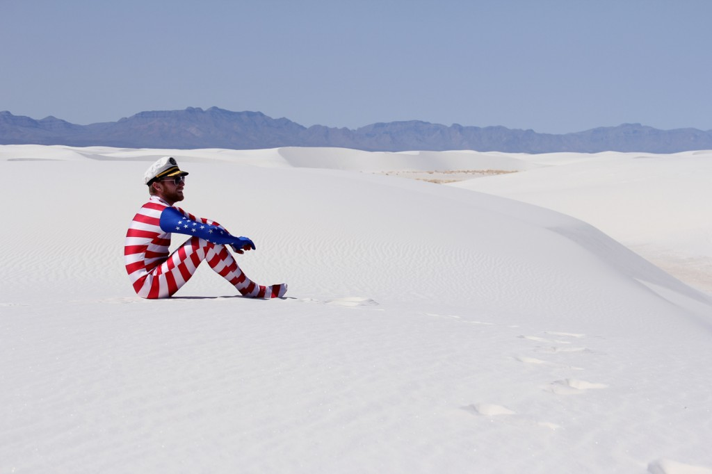 Surveying his white sands domain