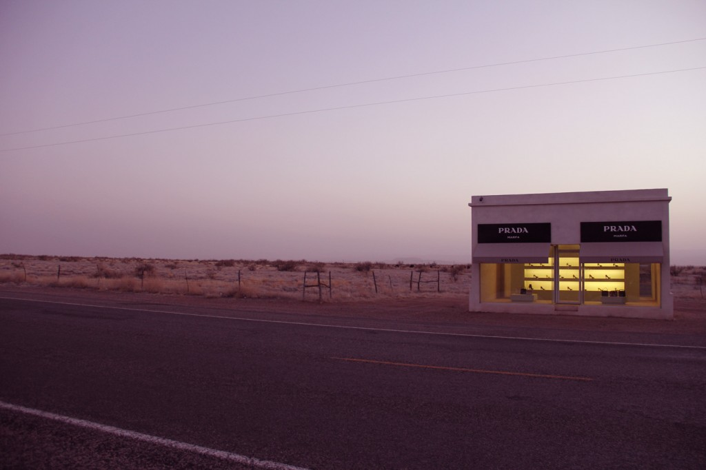 Prada surrounded by desert